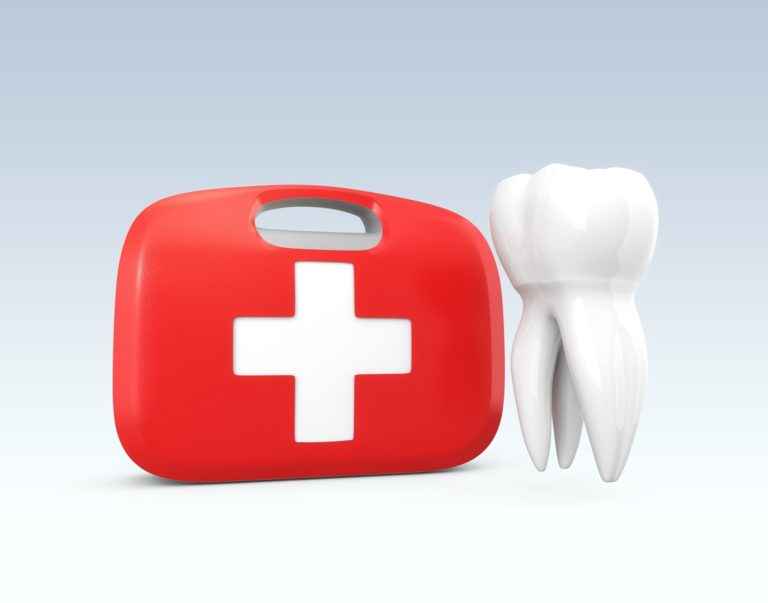 Illustration of a red first aid kit with a white tooth